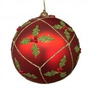 Gisela Graham Matte Red Holly Trellis Bauble Christmas Tree Decoration