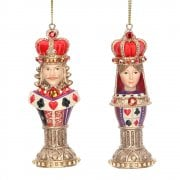 Gisela Graham Pair of King and Queen Playing Card Chess Pieces Christmas Tree Decorations