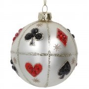 Gisela Graham Playing Card Glass Bauble Christmas Tree Decoration