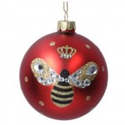 Gisela Graham Matt Red with Painted Bumble Bee Glass Bauble Christmas Tree Decoration