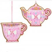 Gisela Graham Pastel Gingerbread Teapot and Teacup (Pink) Christmas Tree Decoration